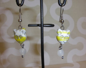 Yellow and White  Kitty Cat   Earrings