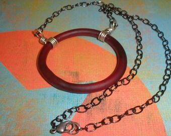 Eggplant Purple Matte Glass Ring Necklace