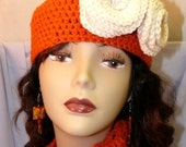 Chic and Versatile Crochet Hat with removable rosettes PLUS matching Scarf-Belt-Hair wrap Creation