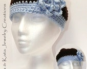 Crocheted hat (two tone) with flower that is attached- all handmade
