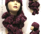 Chic and Versatile Multi-Purple Crochet Hat with matching Scarf