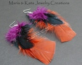 Feather Earrings made w/ purple, black and orange colored feathers.