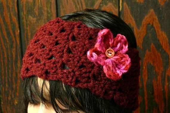 Crochet head band with flower- Beautiful Hand crafted -be warm and fashionable