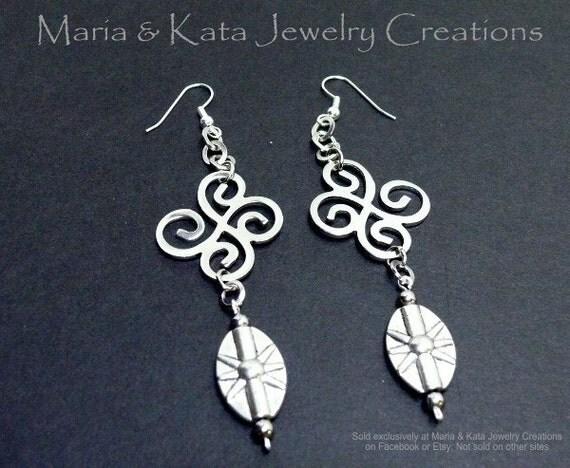 Swirl dangle earrings- made w/ swirl pattern findings, metal links and metal oval shape beads.