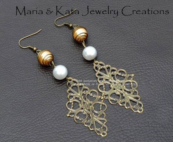 Brass Filigree w/ pearl glass beads- gold and light gray