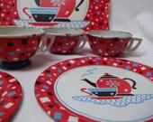 On SALE Vintage Tin Toy Tea Set 7 pieces