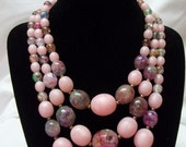 Vintage 3 Strand Pink Necklace and Earring Set