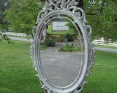 Vintage Distressed Ornate White Mirror 29 by 18