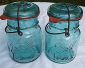Vintage Two Ball Mason Jars with Wire Bail and Lid