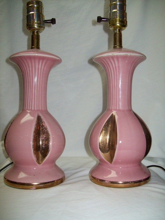 ReSeRvEd for Rosemary Vintage Pair of Pink Lamps with Gold Trim 1950's