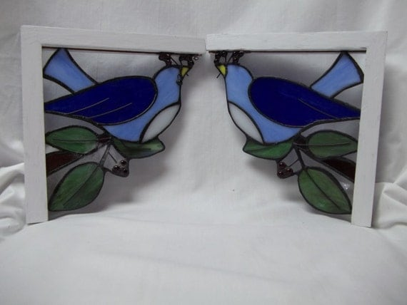 Vintage Stained Glass Corner Brackets
