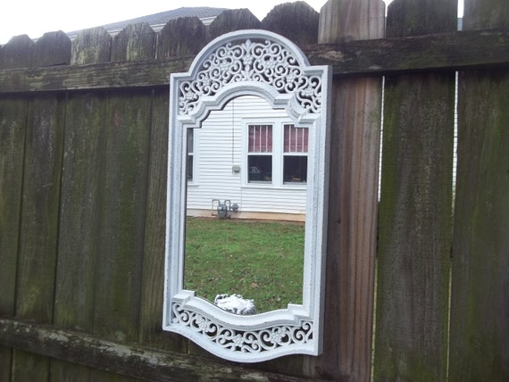 ReSeRvEd for GENESIS Vintage Large Chippy White Frame Mirror 28 by 14