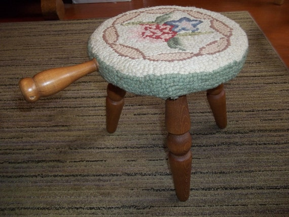 Vintage Wooden Milking Stool with Hooked Rug Cover