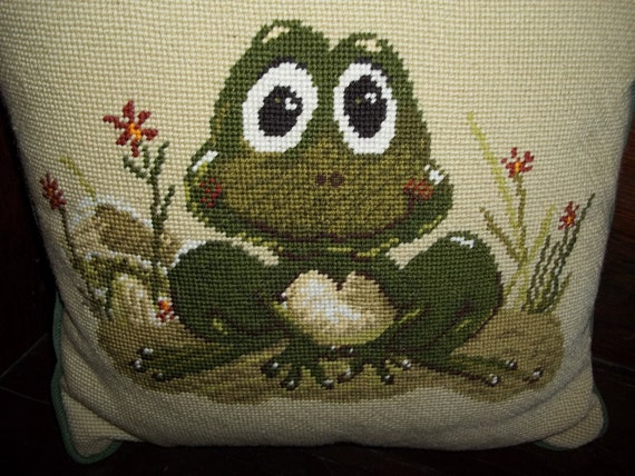 Vintage Needlepoint Frog Pillow