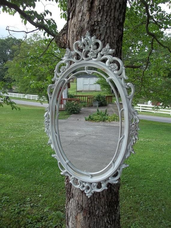 Vintage Distressed Ornate White Mirror 29 by 18