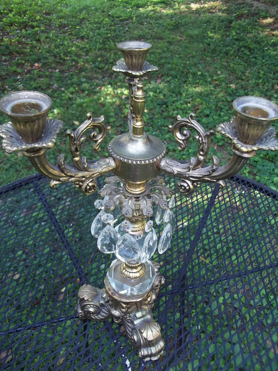 ReSeRvEd for AALIYAH Vintage Hollywood Regency Candelabra with Crystals