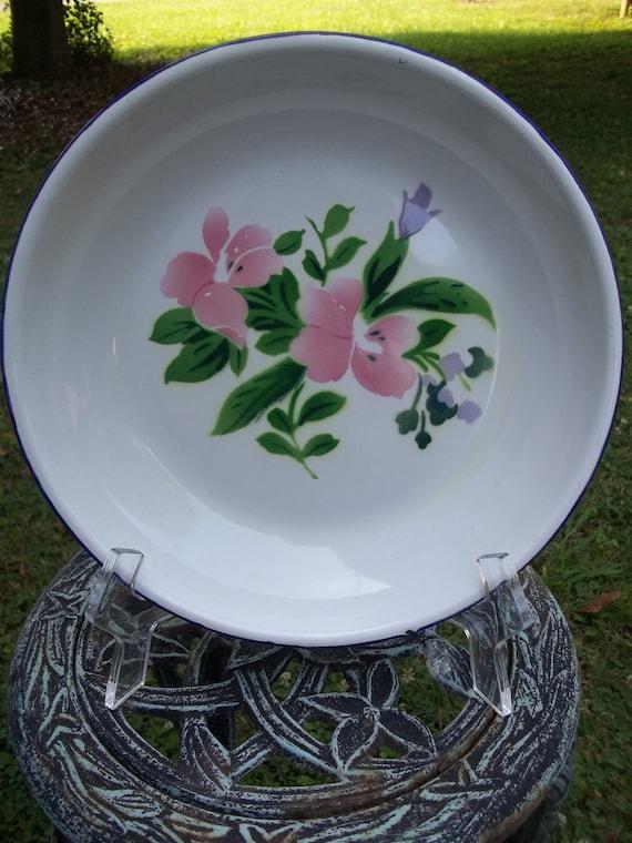 "Vintage ""Bon Voyage"" Mid Century Enamel Dish"
