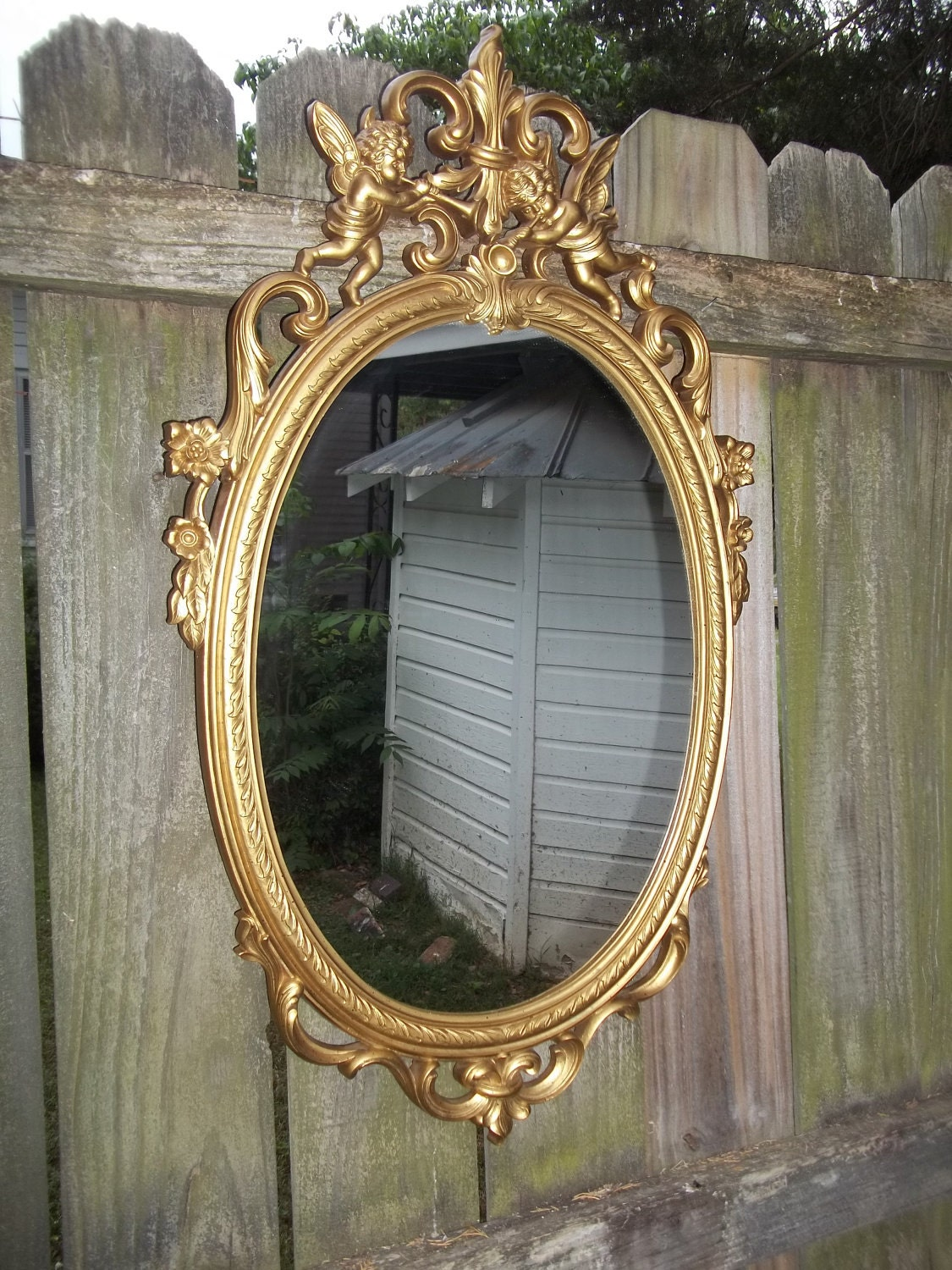 Vintage Gold Ornate Cherub Mirror 30 X 17