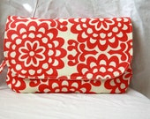 Diaper Clutch with Changing Pad - Red and Cream - Amy Butler Wallflower Cherry -