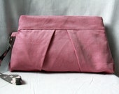 Corduroy Zipper Clutch - Pleated Clutch Corduroy - Pink and Gray Pleated Wristlet