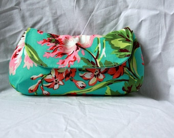 Turquoise Clutch / Wristlet - Amy Butler Love Floral Clutch