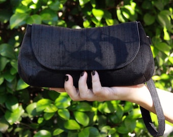Black Clutch with Gray Lining - Formal Silk Dupioni Clutch with Wrist Strap