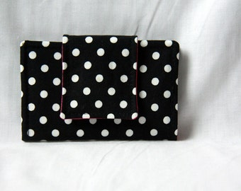 Business Card Holder / Small Wallet - Black and White Polka Dot with Bright Pink Lining