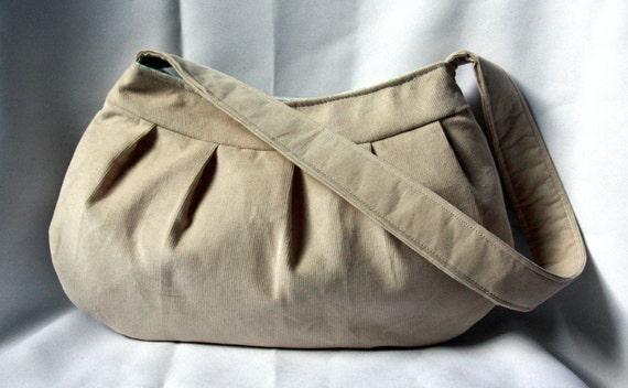 Tan Corduroy Purse - Pleated Purse / Handbag - Large Buttercup Bag in Khaki and Turquoise