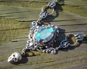 50% off Victorian rockabilly vintage AB sapphire swarovski crystal necklace