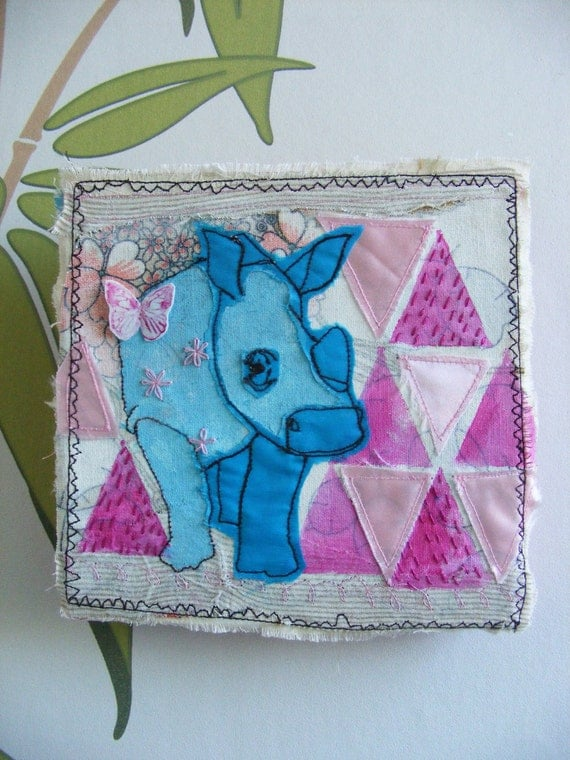 Original Mixed media- textile art - rhinoceros - Beautiful, BIG- powder pink, cerise, turquoise