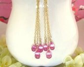 Triple hot pink corundrum quartz gold drop earrings