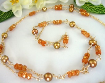Peach golden pearl opera necklace, Thanksgiving fall  gold pearl opera length, orange mystic quartz gold pearl opera length necklace