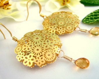 Gold Flower Lace Citrine Dangle Earrings - Gold Floral Citrine Wedding Earrings - Lace Floral Gold Round Earrings - Gold Citrine Earrings