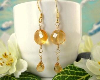Gold citrine coin drop earrings, small citrine coin drop earrings, citrine circle tear drop gold filled earrings