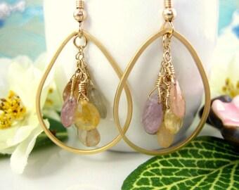 Mixed Fruit Candy Drop Gold Hoop Rainbow Sapphire Earrings, high quality rainbow sapphire cluster gold tear drop earrings