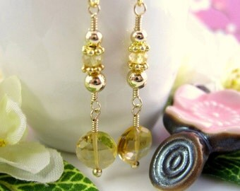 Citrine Coin Drop Gold Filled Earrings, round citrine bridal gold dangle earrings, citrine gold birthday earrings