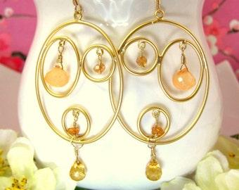 Gold triple hoop oval citrine peach chalcedony earrings, peach hoop earrings, peach abstract gold earrings, abstract peach hoop earrings