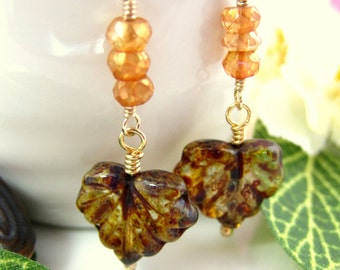 Brown maple leaf orange mystic quartz earrings, brown resin maple leaf earrings, fall resin leaf gold earrings