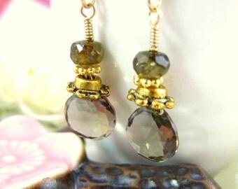 Smokey quartz brown gold dangle earrings, brown quartz drop earrings, brown gold drop earrings, boho chic brown drop earrings