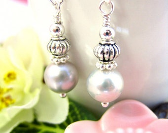 Silver pearl Chinese drop earrings, June birthstone, Victorian bridal pearl earrings, silver wedding bridal earrings
