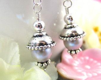 Silver pearl drop earrings, antique drop silver earrings, Victorian silver pearl earrings, bohemian drop silver earrings, silver pearl drop