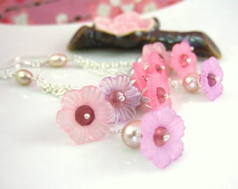 Pink bell flower cluster rose pearl silver earrings, pink sakura shabby chic earrings, Mothers day pink cherry blossom dangle earrings