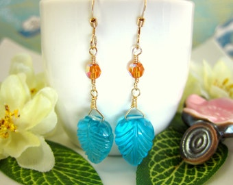 Bohemian Swiss Blue Quartz carved leaf drop earrings, orange and blue leaf dangle earrings, blue Fall autumn leaf dangle leaf earrings