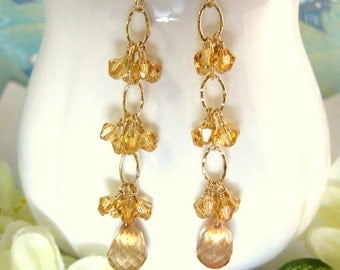 Champagne mystic quartz dangle chain earrings, champagne gold filled dangle earrings, gold crystal bridesmaid dangle earrings