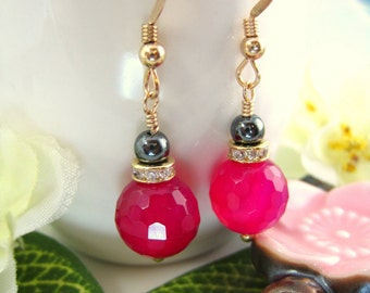 Magenta chalcedony round bead cubic zirconia gold drop earrings, pink disco ball earrings, hot pink boho chic disco drop earrings
