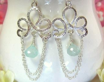 Victorian blue chalcedony silver chandelier earrings, blue silver chandelier tassle earrings, aqua blue chandelier bridesmaid earrings