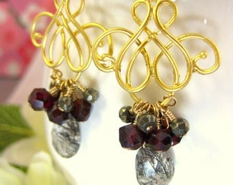 Black Rutilated Quartz Pyrite Gold Chandelier Earrings, vampire ball Halloween chandelier earrings