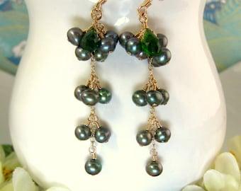 Green Grape Napa Valley Pearl Earrings - Green Pearl Grape Cluster Earrings - Green Grape Winery Wedding - Napa Valley Grapes