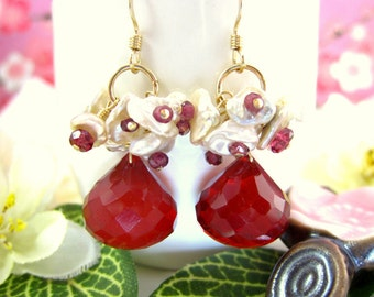 Keishi pearl candy apple red quartz cluster rhodolite garnet drop earrings, red Christmas candy cane cluster pearl, Valentines Day  earrings