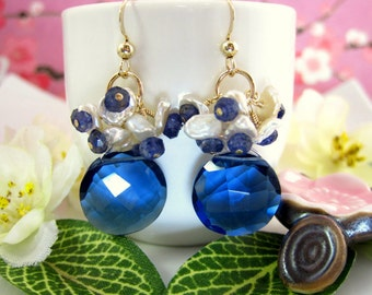 Keishi pearl kyanite blue quartz and iolite gold cluster earrings, royal blue quartz earrings, blue coin gemstone lala land dangle earrings